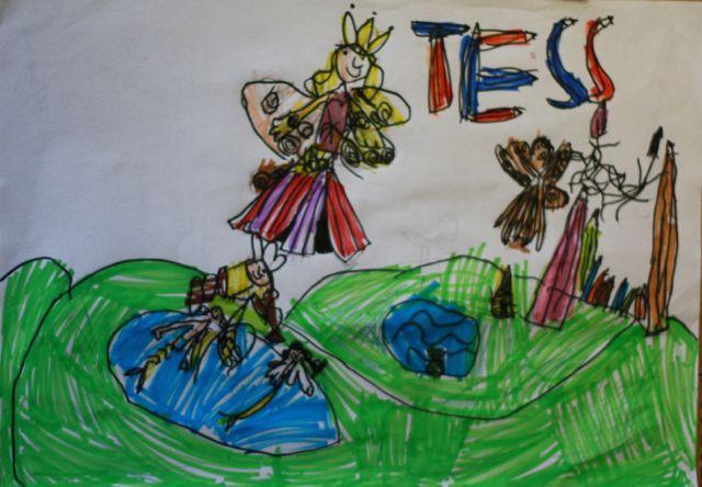 Les princesses des crayons de couleurs selon Tess (6 ans)